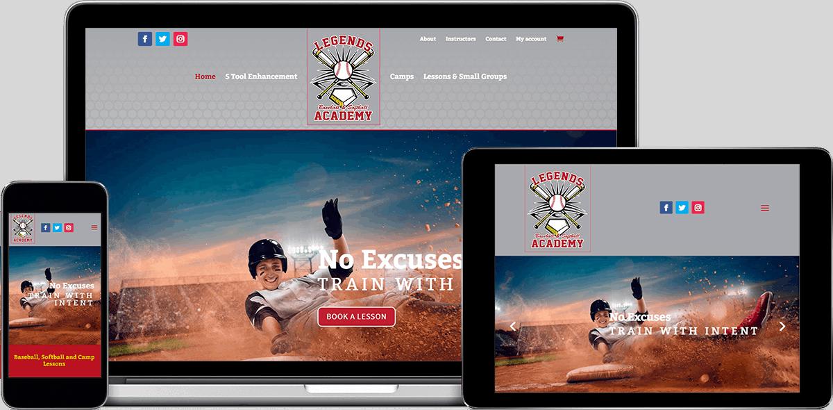 Legends Baseball Website by Michael Wallace Designs